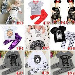 Wholesale Little Girl Cute Outfits - I'll eat you up you're so cute Bowtie Bear Baby Girls Boys Outfits Set Summer Sets Boy Cotton Tops + Harem Pants Little monster