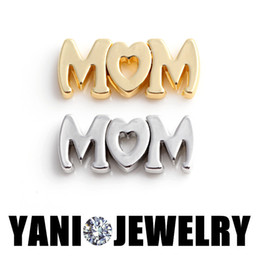 2019 mazzi di mamma All'ingrosso-20PCS / LOT galleggiante Locket piatto Lettere MoM Charms medaglione galleggiante Fit Glass Living Locket per la madre sconti mazzi di mamma