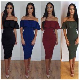 Wholesale Designer Bandage Dresses - New Women Fashion Bandage Dresses 2017 Summer Sleeveless Split Off-Shoulder Dresses Ladies Sexy One Piece Dress Designer Dresses Blue Red