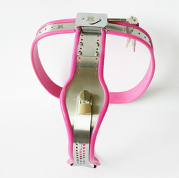 Wholesale Metal Chastity Female - Female Chastity Belt Adjustable Stainless Steel Chastity Belt Enforcer Chastity Device BDSM Sex Toys For Women Metal Underwear