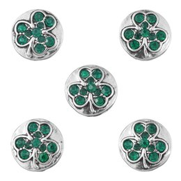 Wholesale Girls Metal Bangles - 13mm 6 Color Clover Snap Buttons For DIY Bracelet&Bangles Colorful Rhinestone Metal Buttons DIY Women Girls Jewelry Valentine Gift N217S