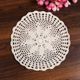 Wholesale Crochet Napkins - Wholesale- LINKWELL Brand New Fashion 23 cm Round Table Pad Cotton Crochet Doilies Potholders Cup Mat Napkin Cup Coaster Tablemat