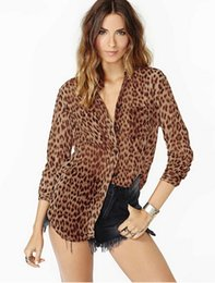 Wholesale New Lapel Shirt Chiffon - women chiffon shirt leopard casual blouse America Europe street fashion top spring new arrival 4sizes 1color