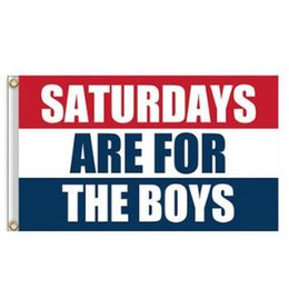 Wholesale Fly Banners - Saturdays are for the Boys 3*5ft (90cm*150cm) Polyester Flag Banner Decoration Flying Home and Garden Banner Flags CCA7381 10pcs