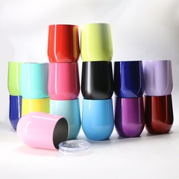 Wholesale Wholesale Business Logos - 9oz Stemless Eggshell shape Beer Wine Glass Mugs with Logo Vacuum cup 15 colors Stainless Steel Eggshell shape Cups Wine cups Free DHL