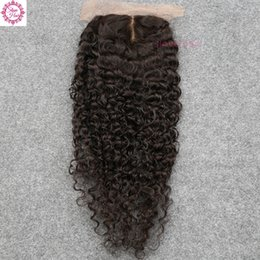 Wholesale Silk Base Closure Middle Part - Silk Base Closure Kinky Curly Indian Virgin Human Hair Silk Top Closure Curly Wave Free Middle 3 Part Silk Base Closure For Sale