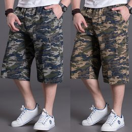 Wholesale Cargo For Mens - Shorts for men Camo Cargo shorts Plus size 6XL Mens clothing casual Zipper hiphop loose cotton twill elastic waist young men 2017
