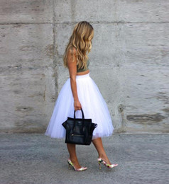 Wholesale Womens Tutu Skirt Pink - Pure White Tutu Skirt Midi Skirt Simple style Womens friends party shopping woman skirt top custom Leg length