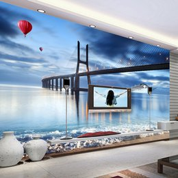 Wholesale Backdrop City - Custom Mural Night View City Bridge New York European And American Cities Black And White Living Room Backdrop Wallpaper