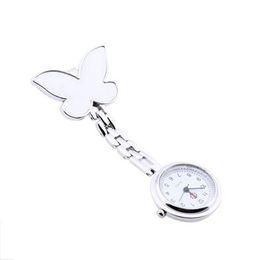 Wholesale Nurse Watch Butterfly - Wholesale-Fashion Hot Simple Butterfly Nurse Watch Clip-on Fob Brooch Pendant Hanging Pocket Watch