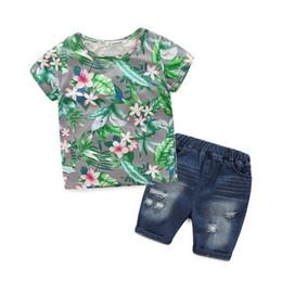 Wholesale Denim Tshirt - wholesale 2016 kids boys floral denim clothes baby 2 pieces clothing toddler summer sets children flower tshirt hole shorts suit TZ982