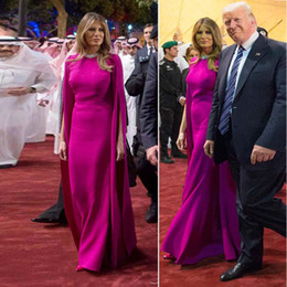 Wholesale Jacket Cap Sleeves - Melania Trump Same Evening Dress Saudi Arabia Elegant Respectful' Tour Outfits Floor Length Formal Dress with Long Wrap