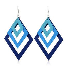 Wholesale Earings Color Diamond - multilayer wood diamond earrings drop dangle stud multi color rhombus earings women fashion anti allergy earring blue purple wholesale