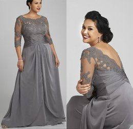 Wholesale half sleeve green chiffon dress - 2018 Plus Size Gray Mother of the Bride Groom Dress Half Sleeve Scoop Neck Lace Chiffon Floor Length Formal Evening Gowns Custom Made