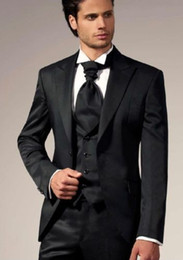 Wholesale Top Best Ball Gown - Wholesale- Top Selling New Custom Made Mens Black Suits Groom Tuxedos Wedding Best men Suits Ball gown Jacket + Pants + Vest + Tie