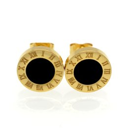 Wholesale Number Plate Clips - 2017 Gold Rose Silver Color Stud Earrings Fashion Famous Brand Jewelry Wedding Party Earrings For Women Lady Men Earrings Gift