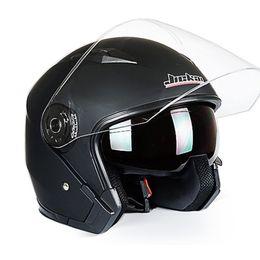 Wholesale Helmets Jiekai - Wholesale- 2017 Genuine JIEKAI Helmet Motorcycle Motorbike Dual Lens Summer Winter Open Face Helmet Moto capacete para motocicleta casco