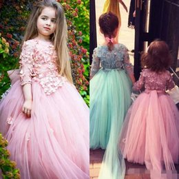 Wholesale Christening Dresses For Baby Girl - 2017 Long Sleeve Flower Girl Dresses For Weddings 3D Floral Appliqued Beads Little Baby Ball Gowns Puffy Skirts Communion Pageant Dress