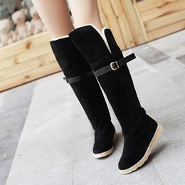 Wholesale Belt Buckle Boots - NEW Belt hasp ladies snow boots woman platform fashion designer thigh high boots suede leather shoes over the knee booties2016 C