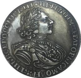 Placas de latão velhas on-line-Rússia 1724 réplica moedas latão banhado a prata preto do velho