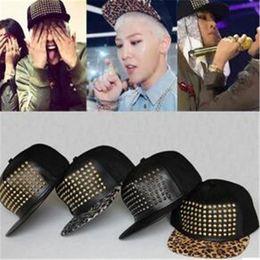 Wholesale Metal Logos Hats - Leather Fitted Baseball Snapbacks Rivet Snap Back Caps Korean Bigbang Metal Logo Snapback Hip Hop Cap Fashion Hats Adjustable DHL Free