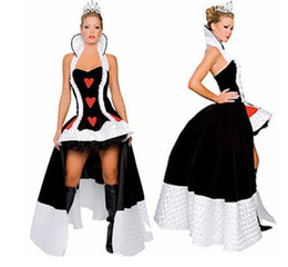 Wholesale Alice Costume Xl - Sexy Alice in Wonderland Queen of Hearts Costume Extravagant Queen Costumes Women Halloween Costumes For Women M XL