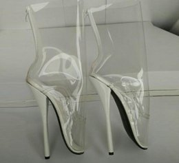 Wholesale Queen Patents - Free shipping 2017 Extreme High 18cm High Heel Clear PVC BALLET Women Boots fetish High-Heel Ballet Boots Queen transparent Ballet Boots