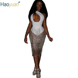 Wholesale White Mesh Panel Dress - HAOYUAN 2017 Summer Sexy Bandage Night Club Dress Mesh Embroidery One Shoulder Backless Dress Women Sexy Sequin Bodycon Dresses