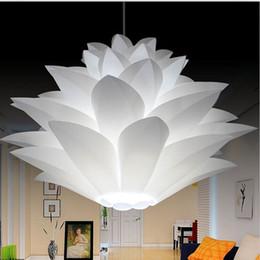 Wholesale Red Lotus - Lowest price on sale DIY Modern pinecone Pendant light creative lily lotus novel led e27 35 45 55cm iq puzzle lamp white