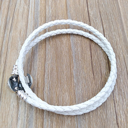 Wholesale braiding bracelets - Authentic 925 Silver Ivory White Braided Double-Leather Charm Bracelet Fits European Pandora Style Jewelry Charms Beads Handmade 590745CIW-D