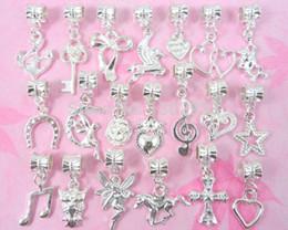 Wholesale Wholesale Horse Shoe Jewelry - Wholesale-100 pcs  Lot 20style Mix Silver  P Horse Shoes Heart Key Flower Owl Dangle Charms Jewelry Findings Fit European Bracelet SSY02