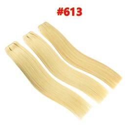 Wholesale Machine Drawing - 10A Grade Quality Double Drawn #60 #613 Blonde Brazilian Straight Human Hair 3pcs 80g pcs Brazilian Human StraightHair Weave Bundles