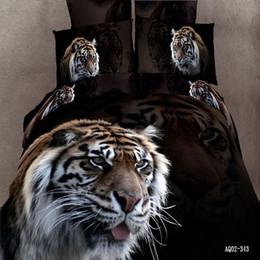Wholesale 3d Doona Covers - Wild Tiger Queen Double King Size Quilt Doona Duvet Cover Set 3D New 100% Cotton