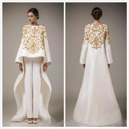Wholesale Embroidery Long Sleeve Lace Shirt - 2016 luxury ivory gold evening dress open burning gown trousers but embroidery made festa dress formal gowns
