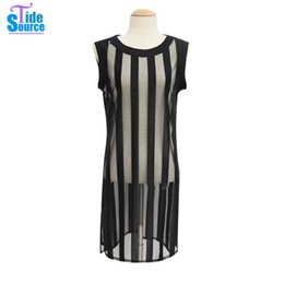 Wholesale Wholesale Unique T Shirt - Wholesale- 2016 New Summer Style Sleeveless Mesh Sheer T Shirt Women Tops and Tees Long Striped Top Unique Casual All-Match Women's T-shirt