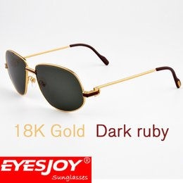 Wholesale Large Square Boxes - Metal Red Black Stone Large Frame Brand Designer Sunglasses for Men Frame Green Lens UV Protection Sunglasses With Sun glasses Box