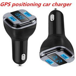 Wholesale Gps Locate - Locate E5 Smart Car Charger Dual USB Car Adapter LED Display Smart Search Car with GPS Positioning DHL