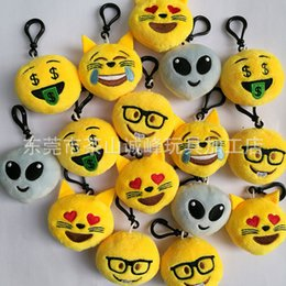 Wholesale Alien Key Chain - wholesale Cat face alien cartoon emoji expression keychains soft plush key chains women handbag key rings best gift for kids