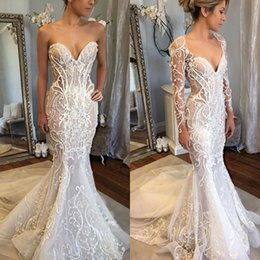 Wholesale Wedding Gowns Jackets Mermaid - Sexy Backless Mermaid Wedding Dresses With Jacket Sweetheart Lace Appliqued Beads Hottest Bridal Gowns Sleeveless Illusion Wedding Dress