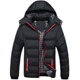 Wholesale Men S Puffer Jacket - Wholesale- 2016 Winter Coat Men quilted black puffer jacket warm fashion male overcoat parka outwear cotton padded hooded coat Size XL-4XL