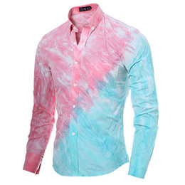 Wholesale Mens Poplin Shirts - Wholesale- 2017 New Spring Fashion Brand 3D Tie Dye Stitching Mens Shirt Long Sleeve Pink Male Casual Shirt Cotton Evening Dress DDZ