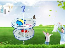 Wholesale Laundry Basket Free Shipping - Foldable Laundry Hanger Dryer Clothes Basket 2 Tiers Mesh Net Drying Rack Washing Bag wholesale free shipping