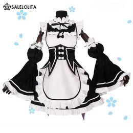 Ram / Rem Cosplay Re: cero Kara Hajimeru Isekai Seikatsu Re Vida en un mundo diferente Kawaii Sisters Costume Maid Servant Dresses Wholesale desde fabricantes