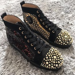 Wholesale Spike Studded - [Original Box,Size 35-47] Beads Leather Sneakers Spikes Studded Toe High Top Red Bottom Women,Men Shoes,Unisex Ever-popular Casual Luxury