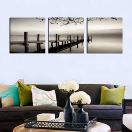 Wholesale Black Square Picture Frame - 3 Panels Black and White Wooden Bridge Painting Giclee Artwork Landscape Picture Printed Wall Art Wooden Framed For Home Decor