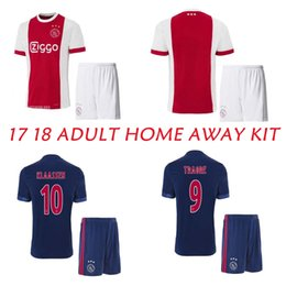 Wholesale Adult Sports Shorts - 2017 2018 Ajax home red soccer thai quality 17 18 KLAASSEN FISCHEA soccer jerseys men's away blue football sets Adults sports uniforms