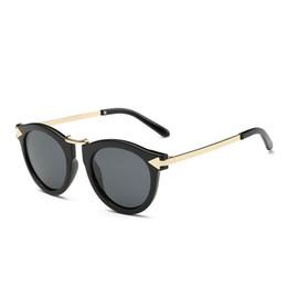 Wholesale Vintage Arrows - 2017 Fashion Women Polarized Sunglasses Brand Designer Semi Glasses Round Summer Driving Cat Eye Metal Arrow Vintage Sunglasses For women