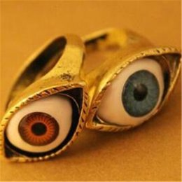 Wholesale Evil Eye Bronze - Fashion Punk Style Ring DHL Vampire Devil Evil Alloy Vintag Red And Blue Eyes Ring Bronze Punk Evil Blue Brown Eye Finger Ring