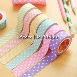 Wholesale Deco Heart - Wholesale- 2016 6 rolls NEW 5X 15mm lovely washi tapes set for Christmas Print DIY Deco Masking wave dot heart star Washi Tape Paper 5m