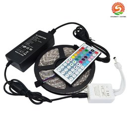 Wholesale Remote Leds - Waterproof Strips IP65 5M 300 Leds SMD5050 RGB Led Strips + Remote controller + 12V 5A power supply With EU US AU UK Plug